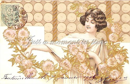 1030 Digital download 300 dpi beautiful flapper image - french vintage postcard