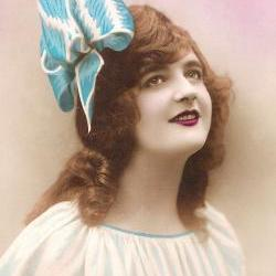 Digital download 300 dpi French 1920s postcard image - Beautiful Girl with Bow
